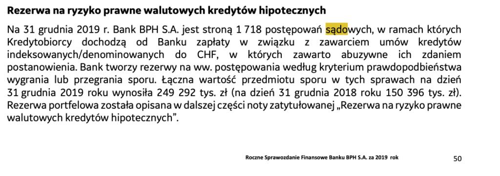 BPH sprawozdanie finansowe za 2019. BPH postępowania sądowe. BPH ryzyko prawne walutowych kredytów.