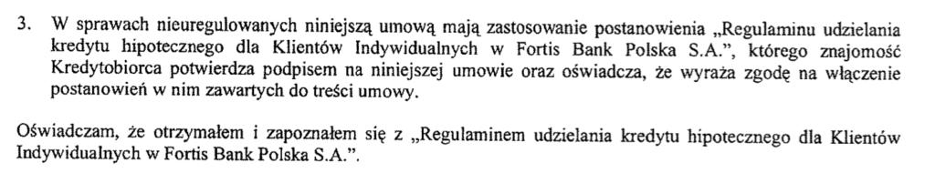 Regulamin Fortis Bank. Regulamin kredytu hipotecznego Fortis. Kancelaria frankowicze Olsztyn. Frankowicz Włocławek.